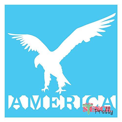 "Patriotic Bald Eagle Stencil Best Vinyl Large Stencils for Painting on Wood, Canvas, Wall, etc.-L (14"" x 12.5"")  Brilliant Blue Color Material"