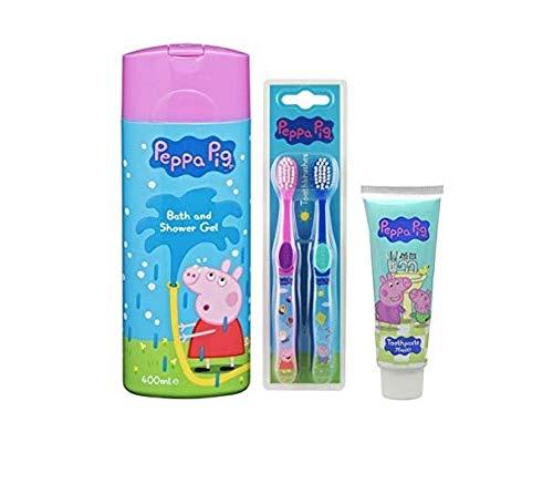 Peppa Pig Gel pour le Bain et la Douche, Brosse à dents (x 2) et Ensemble de Dentifrice
