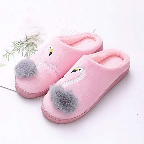 KUIAHIO Zapatillas de casa de Invierno con diseño de Flamenco Unisex Zapatillas de Piel Suave y esponjosa Zapatillas de Interior cálidas Zapatillas sin Cordones
