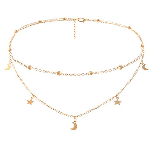 Legitta Damen Halskette Choker Gold Kette mit Anhänger Stern Mond für Frauen Mädchen-EA24