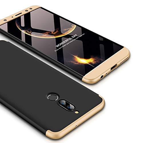JMGoodstore Funda Compatible Huawei Mate 10 Lite,Carcasa 360360 Grados Integral Ambas Caras+Cristal Templado,3 in 1Slim Dactilares Protectora Skin Caso Cover Oro+Negro