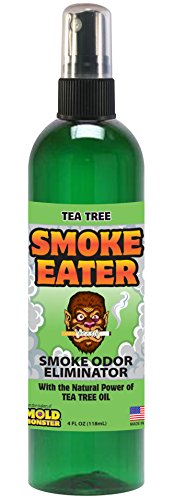 Smoke Eater - Breaks Down Smoke Odor at The Molecular Level - Eliminates Cigarette, Cigar or Smoke On Clothes, in Cars, Boats, Homes, and Office - 4 oz Travel Spray Bottle (Tea Tree Oil)