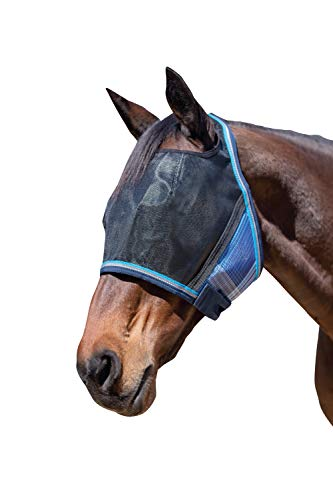 Kensington UViator Protective Fly Mask — Newest UV Solar Screen Protection with a 90% UV Rating — Double Locking CatchMask Fasteners — Non Heat Transferring Fabric (Kentucky Blue, X-Large)
