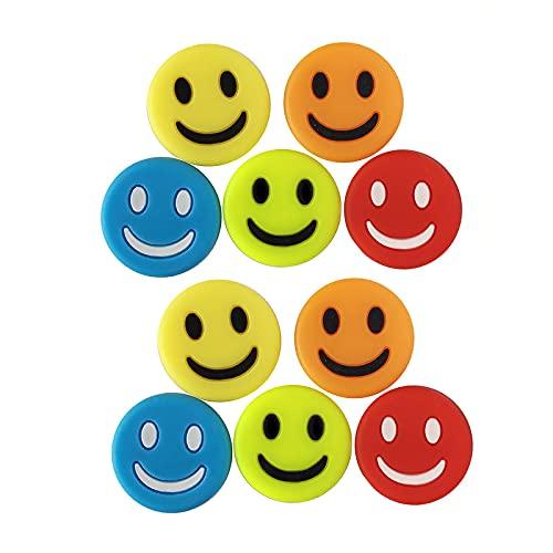 N / B 12 amortiguadores de vibración de raqueta de tenis, colorido patrón de sonrisa, amortiguador de choque de raqueta de tenis, accesorios de tenis