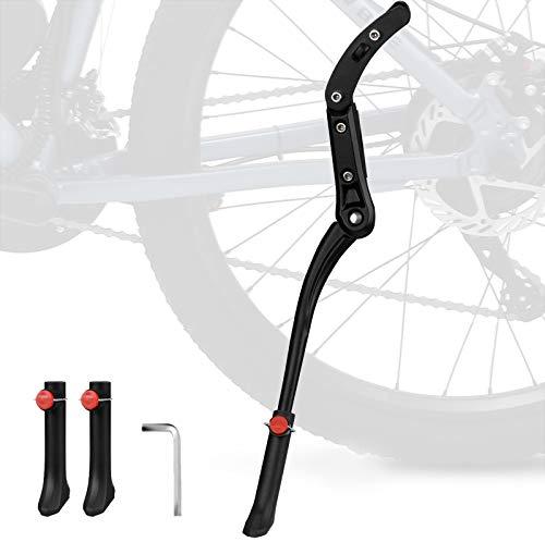 MeYuxg Soporte lateral para bicicleta universal, soporte de aleación de aluminio regulable en altura, con patas de goma antideslizantes, apto para bicicletas con neumáticos de 24 a 29 pulgadas (negro)