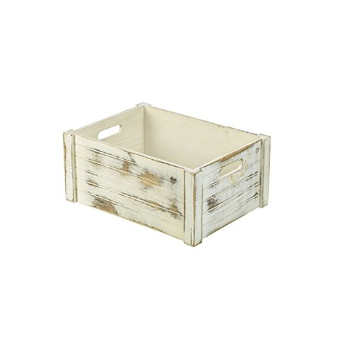 Genware NEV-WDC-4130W houten kist, wit gelakt, 41 x 30 x 18 cm