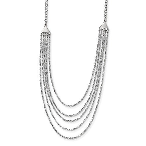 925 Sterling Silver Multi Strand Chain Necklace Pendant Charm Layer Fine Jewelry For Women Gifts For Her