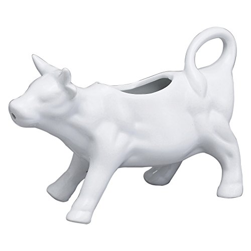HIC Harold Import Co. 82-234 Cow Creamer with Handle, Fine White Porcelain, 6-Ounce