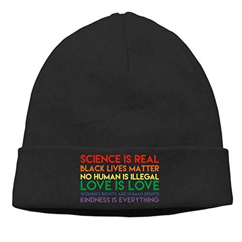 Yuanmeiju Science is Real Beanie Men Women Funny Novelty Fishermans Beanie Hat Black