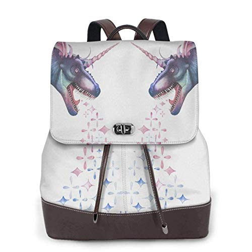 Women'S Leather Backpack,Magic Dinosaur Unicorn With Sparkles Roaring Print Women'S Leather Backpack
