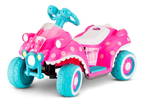 Kid Trax Toddler Disney Minnie Mouse Electric Quad Ride On Toy, Kids 1.5-3 Years Old, 6 Volt Battery and Charger Included, Max Weight 45 lbs, Minnie Mouse Hot Pink