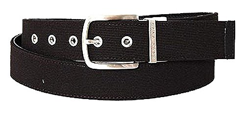 BOSS Ceinture unisex woven and leather reversible, black 36