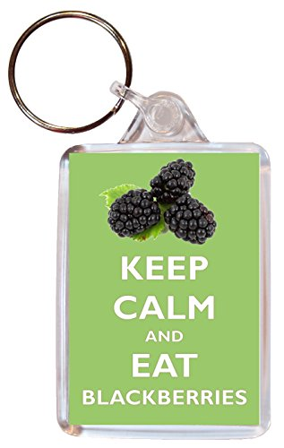 Keep Calm and Eat Blackberries - Double Sided Large Keyring Key Ring Fob Chain Name Tag Souvenir/Gift/Present