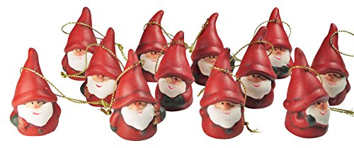 khevga 12er Set Christbaumschmuck aus Terracotta Weihnachtsmann Wichtel rot - Deko-Hänger Weihnachten