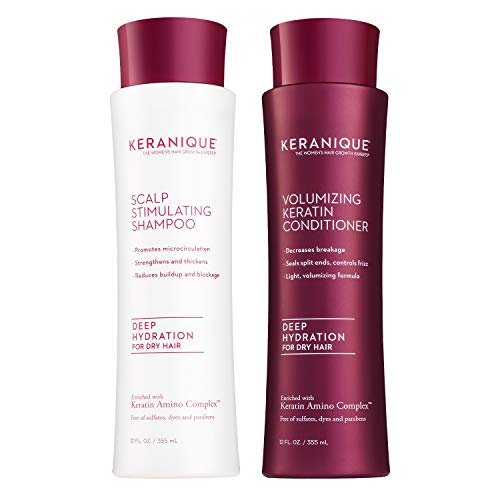 Keranique Deep Hydrating Shampoo and Conditioner Set for Hair Growth and Thinning Hair | Keratin Hair Treatment | Keratin Amino Complex, Free of Sulfates, Dyes and Parabens, 8 Fl Oz