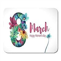 マウスパッド国際女性の日3月8日花番号マウスパッドノートブック、デスクトップコンピューターマウスマット、事務用品