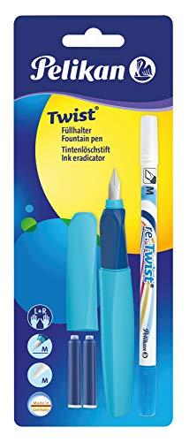 Pelikan 926071 - Set Penna Stilografica Twist + 2 Cartucce inchiostro TP + 1 Cancellino Super Pirat incluso - kit scuola primaria elementare - scuola media, Blu-Rosso
