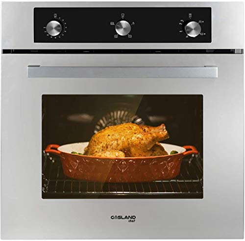 Single Wall Oven, GASLAND Chef GS606MSLP 24' Built-in Propane Gas Oven, 6 Cooking Function Convection Gas Wall Oven with Rotisserie, Mechanical Knob Control, 120V Electric Ignition, Stainless Steel