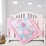 Honkaii Pink Crib Bedding Sets Elephant 4pcs for Girls, Baby Nursery Bedding Set, Comforter, Crib Fitted Sheet, Crib Skirt & Diaper Stacker Included for Standard Size Crib