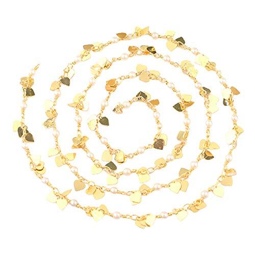 kowaku Eslabón de Cadena de Cable con Cuentas de Perlas de Corazón a Granel para Manualidades de Fabricación de Joyas de Collar
