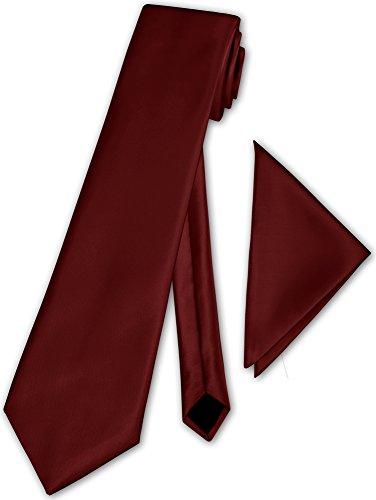 Herren Krawatte klassisch mit Einstecktuch Klassik Anzug Satinkrawatte - 30 Farben (Bordeaux)