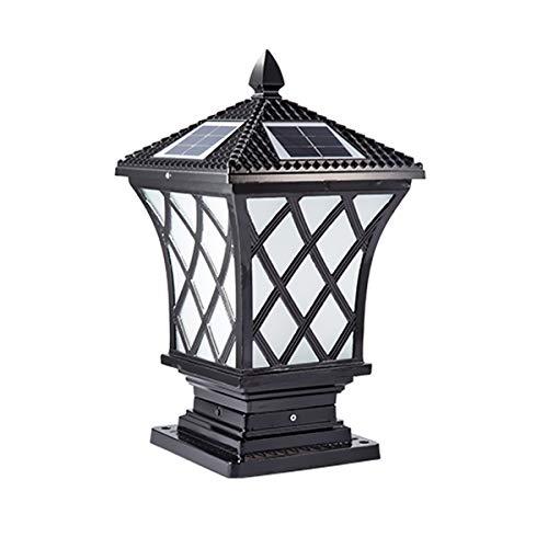 ACMHNC Retro Lámpara de Jardín Solar, LED Faros de Columna Antiguo Post Cap Lights IP65 Vintage Farola de Exterior 2200 Mah Luces de Camino Aluminio Lámpara de Columna Para Patio Paisaje,37Cm,Negro