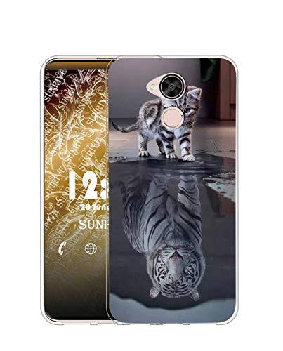 Sunrive Kompatibel mit Huawei GX8/G8 Hülle Silikon, Transparent Handyhülle Schutzhülle Etui Hülle (TPU Tiger Katze)+Gratis Universal Eingabestift MEHRWEG