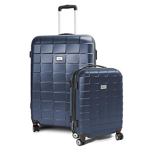 BERWIN® Kofferset M + XL 2-teilig Reisekoffer Trolley Hartschalenkoffer ABS Teleskopgriff Modell Squares (Dunkelblau)