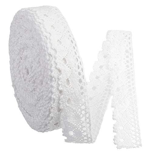 IDONGCAI Bordi in pizzo bianco fai da te con delicato nastro smerlato per Natale, scrapbooking, confezione regalo, 2,5 cm, larghezza 20 m