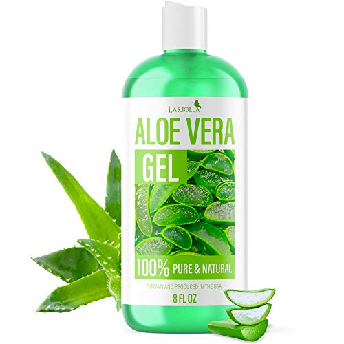 Pure Aloe Vera Gel for Moisturizing Skin, Face, and Hair - Aloe From Freshly Cut Aloe Plant - Soothing Aloe Lotion for Sunburn Relief & Acne - Grown in the USA - Non Sticky - 8 oz