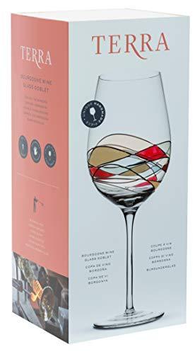 ART ESCUDELLERS Copa de Vino de Color, Artesanal y Pintada a Mano por Artistas Europeos. Vino Blanco, Tinto y Rosado - Colección Terra
