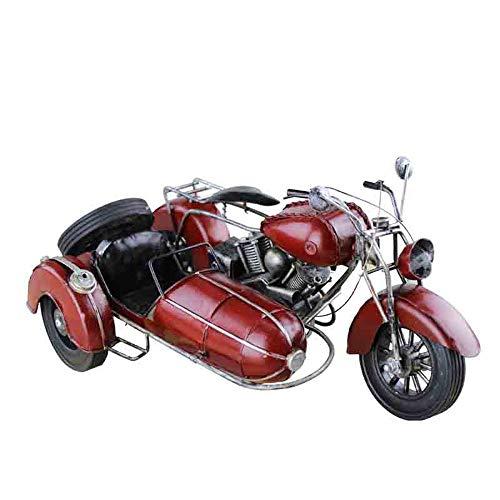 DLY driewieler model motorfiets Sidecar ijzer modelauto metaal onderkua nostalgie retro geschenken DIY huis decoratie model 36 * 22 * 17 cm mooi