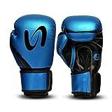 Metallic Boxing Gloves MMA Muay Thai Bag Work Training & Fight (Blue, 16oz)