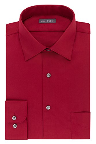 Van Heusen Men's Dress Shirts Regular Fit Lux Sateen Stretch Solid, red, 17' Neck 34'-35' Sleeve (X-Large)