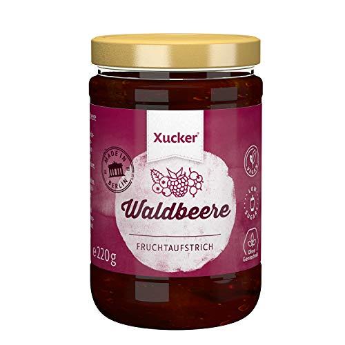 Waldbeere Fruchtaufstrich mit Xylit | Aufstriche von Xucker | Ohne Gentechnik | Vegan | zuckerarm | 220 g Glas | 74 % Fruchtanteil