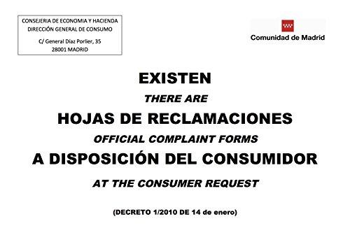 Wayshop | Señalética | Información de Existencia Hojas de Reclamaciones Comunidad De Madrid | Material PVC 3 mm | Medidas 21cm x 29,70cm | A4 | Impresión a Todo Color | Posición Horizontal