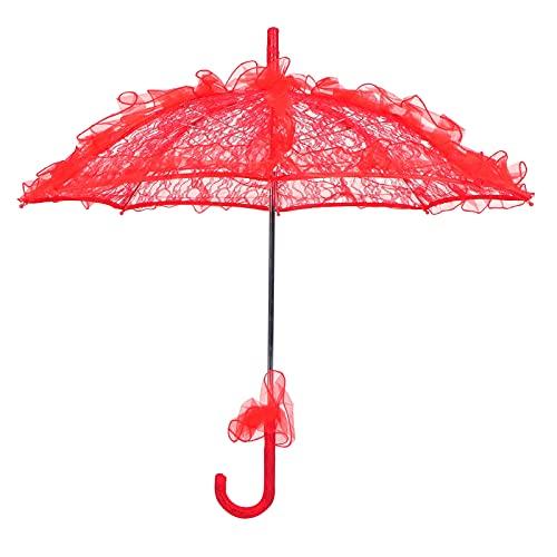Longzhuo Paraguas de Encaje para Boda, Paraguas de Novia para Boda, sombrilla de Tela de Encaje Plegable única, Paraguas, Accesorios de Rendimiento(Rojo)