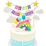 Globos Arcoiris Cake Topper Decorar,Confeti Cupcake Topper,Cumpleaños Cupcake Toppers,Tema Partido Decoración Niña Chico,Decoracion Happy Birthday Banderines,Feliz Cumpleaños Kit