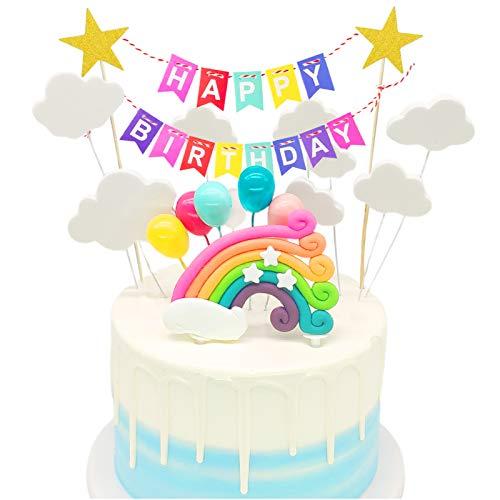 Unicornio Decoración de Tartas,18 piezas Decoraciones de Pasteles cumpleaños,Cumpleaños Cupcake Toppers,Cumpleaños Happy Birthday,Tema Partido Decoración Niña Chico,Feliz Cumpleaños Kit
