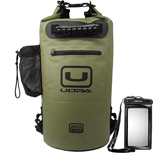 Ultra Waterproof Dry Bag with Easy Access Front Zippered Pocket Side Pocket Padded Shoulder Straps and Grab Handle for All Water Sports Includes IPX8 Waterproof Cellphone Case Army Green 20L