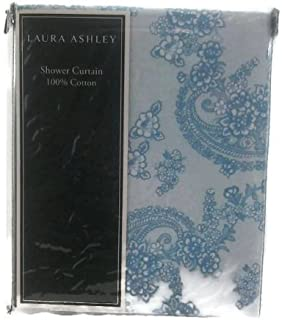 Laura Ashley Kingsley Paisley with Floral Blue/white on Aqua Background Cotton Shower Curtain