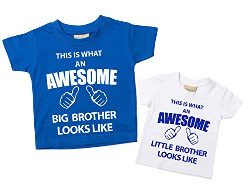 Set maglietta con scritta 'This What An Awesome Big Brother Little Brother', colore: blu e bianco
