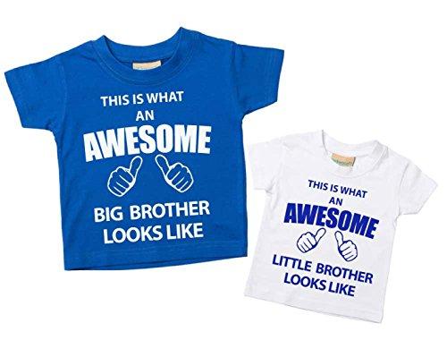 60 Second Makeover Limited This What an Awesome Big Brother Little Brother, Set di maglietta blu e bianco, disponibile nelle taglie da 0 a 6 mesi Blu piccolo 0-6 mesi grande 3-4 anni