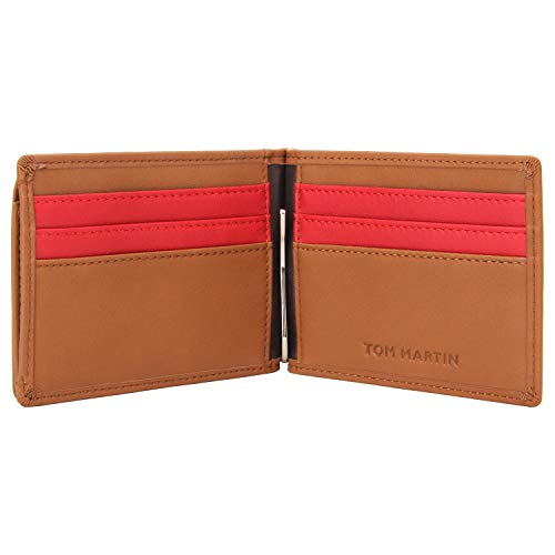Tom Martin TM03 RFID Protected Vegan Leather Slim Bifold Wallet with Money Clip,6 Cards Slots & Coin Pockets for Men (Tan Brown)