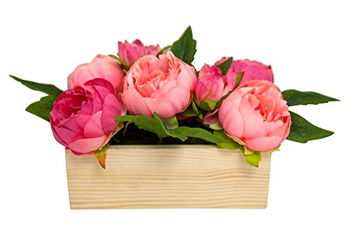 generich Pfingstrosen in Holzkiste 21x16cm Kunstblumen rosa pink Kunstpflanze Blumen Deko 10936