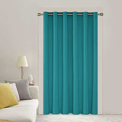 Deconovo Decorative Grommet Blackout Curtains 1 Panel Wide Width Thermal Insulated Room Darkening Curtains Window Curtain for Patio Door 80W x 84L Inch Turquoise 1 Drape