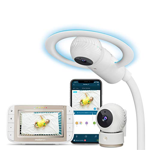 Motorola Halo+ Video Baby Monitor – Two Infant Wi-Fi Cameras with Overhead Crib Mount - 4.3-Inch Color Screen with Infrared Night Vision and Intercom - Compatible with Remote Viewing App and Sleep Tra