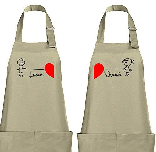 Didart Handmade Delantal cocina personalizado hombre mujer para novios