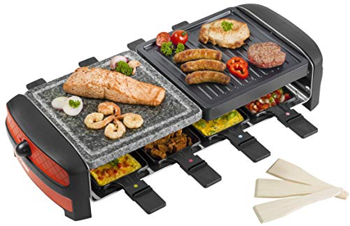Bestron Antihaftbeschichtetes Raclette mit Grill- und Steinplatte, Für bis zu 8 Personen, 1400 W, Rot/Schwarz
