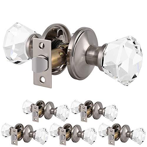 6 Pack Clear Crystal Door Knobs, Heavy Duty Glass Passage Door Handles for Interior Doors, Closets Hallway Pantry Door Knob Set with Modern Design, Satin Nickel Finish